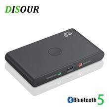 DISOUR NFC الذكية سماعة لاسلكية تعمل بالبلوتوث محول 2 في 1 الصوت 5.0 بلوتوث استقبال الارسال 3.5 مللي متر AUX ستيريو ل TV سيارة عدة PC