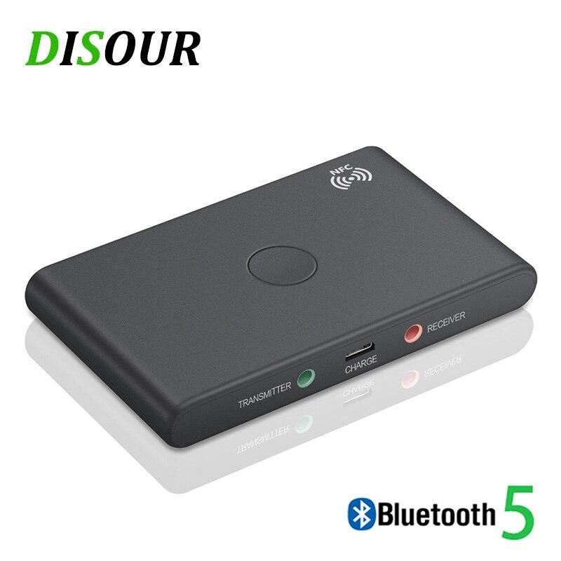 Disour nfc adaptador bluetooth sem fio inteligente 2 em 1 de áudio 5.0 receptor bluetooth transmissor 3.5mm aux estéreo para tv kit carro pc