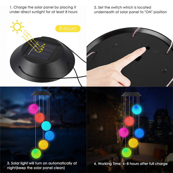Crystal Ball Solar Wind Chime Light 10