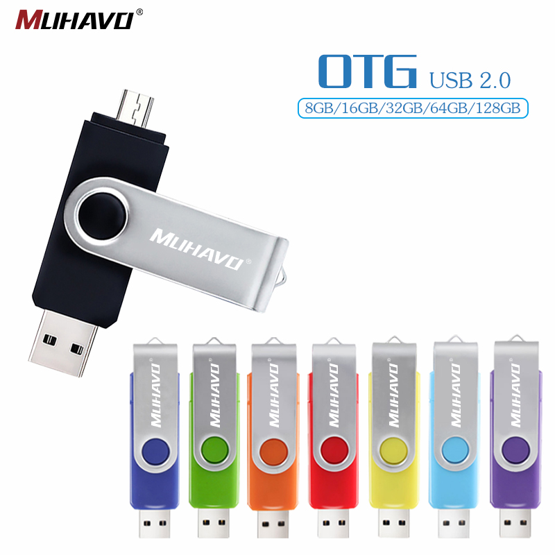 OTG Usb Flash Drive 128GB Smart Phone OTG Pen Drive 64GB 32GB 16GB Pendrive 8GB Flash Usb Stick 2.0 4GB Metal Storage Devices