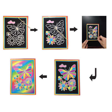 Drawing Toys,drawing board+brush Magic Color Scratch Art Paper Coloring Cards Available On Both Sides For Children kid