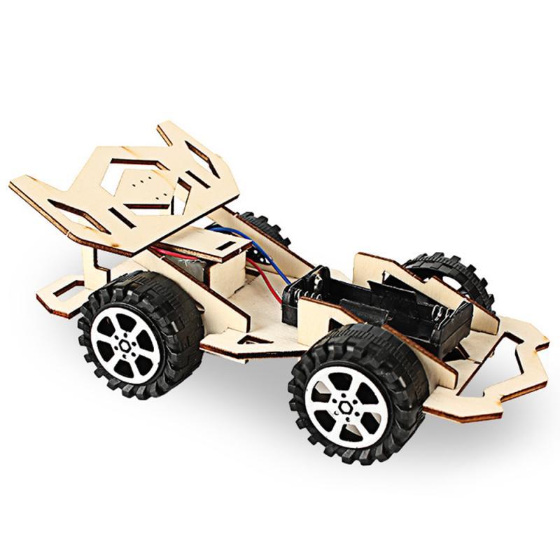 Construcción de un coche de carreras para niños, montar, vehículo, modelo, Kit, ciencia física, experimento, tecnología, juguetes educativos de madera