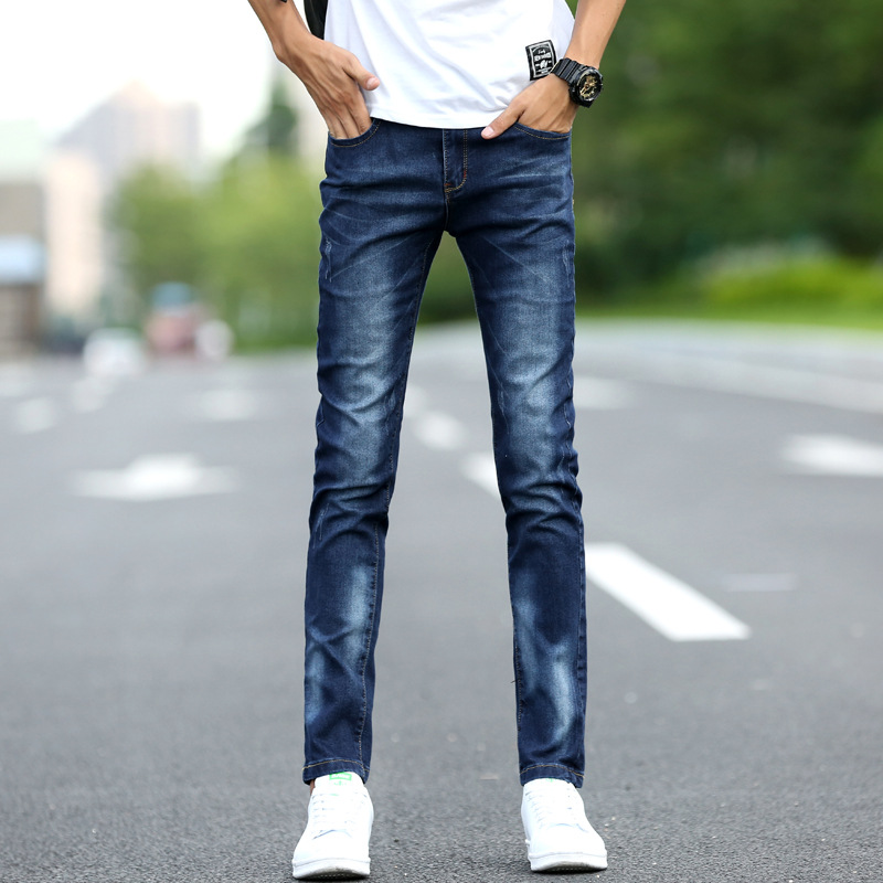 2019 Autumn And Winter New Style Men's Jeans Youth Elasticity Slim Fit Pants Jeans Korean-style Fashion Man