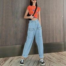 Женские джинсы с высокой талией zosol свободные стройнящие штаны