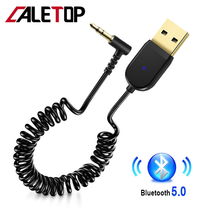 Bluetooth 5.0 Receiver Adapter Dongle For Car 3.5mm Jack Aux Stereo Audio Wireless Receiver For Speakers Car Kit With 1.2m Cable