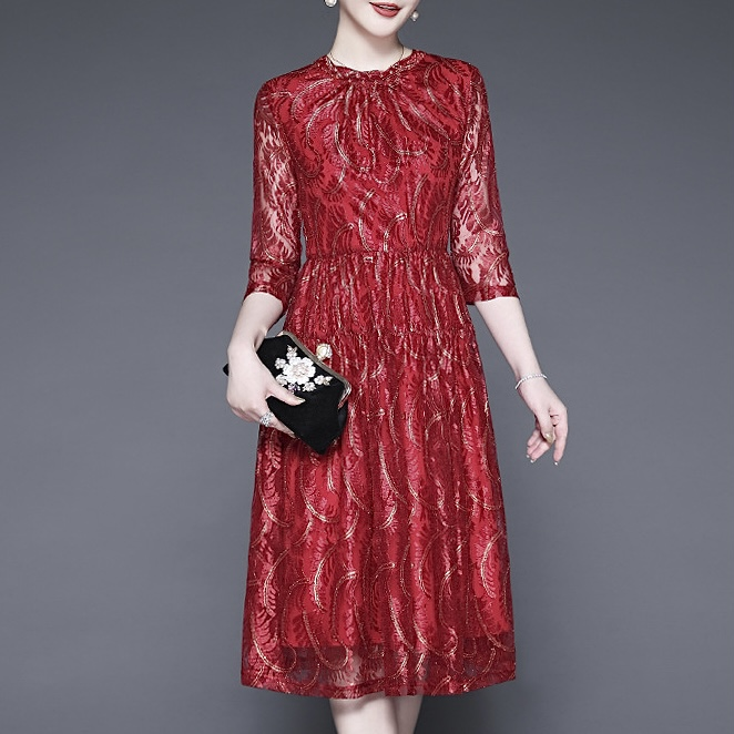 Burgundy Beading Mother Of The Bride Dress Embroidery Floral Print 3/4 Sleeve Knee-Length Wedding Party Mother Evening Gown 2021