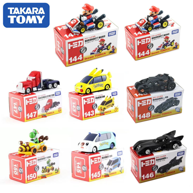 Original TOMY Alloy Car Model Model Pikachu Optimus Prime Super Mario Batman Dark Knight Batmobile Christmas Gift Toy