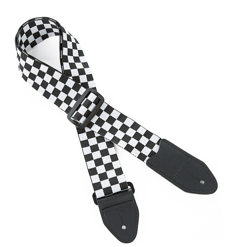 1pc Adjustable Ukulele Strap Black White Plaid Acoustic Guitar Strap Belt Ukulele Bass Guitar Part Accessories