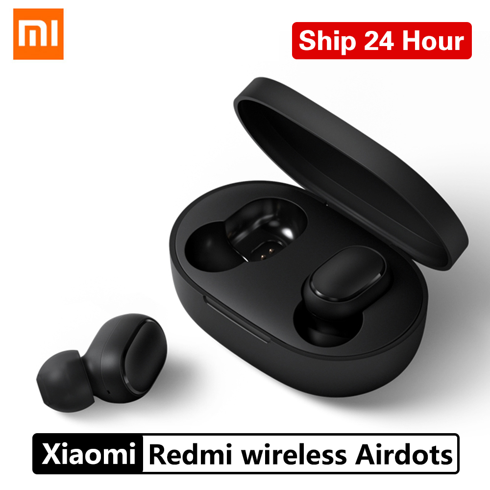 Original xiaomi redmi airdots tws bluetooth 5.0 fone de ouvido mini à prova dhandágua sem fio handfree fones com microfone controle ai