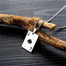 Men statement poker sorte ace de espadas pingente colar vermelho preto cor prata aço inoxidável jóias fortune jogando cartões