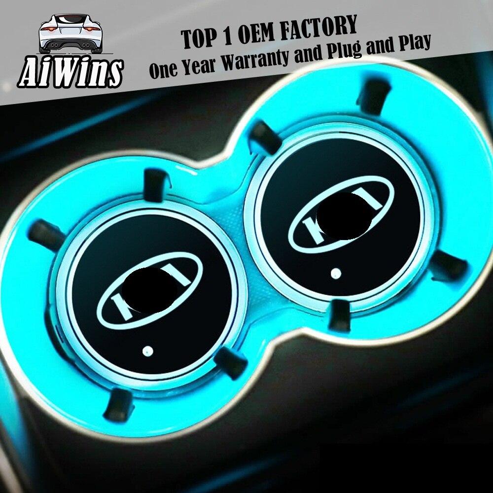 Aiwins Car Luminous Coaster Cup Mat For  For JAGUAR XFL XE XJ F-PACE F-TYPE XF  Car Logo Light Accessories Atmospherelight