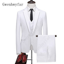 Gwenhwyfar Pak Mannen Jas Vest Broek Wit Een Knop Mannen Business Office Tuxedo Toevallige Trouwjurk Pak Voor Bruidsjonkers(China)