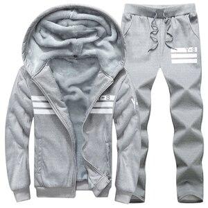 Image 3 - Brand Men Sets Autumn Winter Thick Fleece Sporting Suit 6XL Sweatshirt + Sweatpants Mens Clothing Sets Tracksuit Large Size 8XL