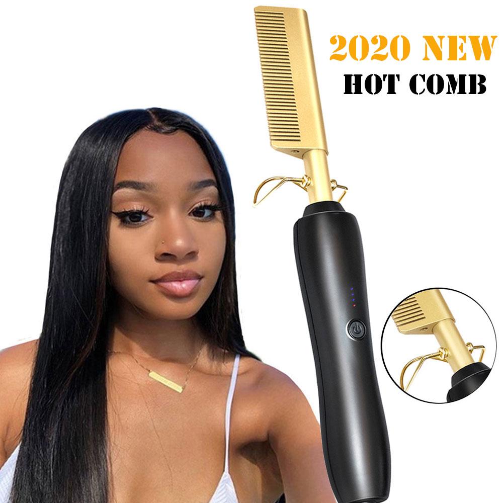 Hair Straightener Flat Irons Straightening Brush Hot Heating Comb Hair Straight Styler Corrugation Curling Iron Hair Curler Comb Straightening Irons    - AliExpress