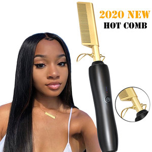 Hair Straightener Flat Irons Straightening Brush Hot Heating Comb Hair Straight Styler Corrugation Curling Iron Hair Curler Comb(China)
