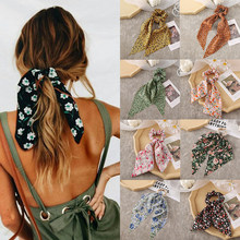 Moda floral impresso cabelo scrunchies fita de cabelo longo para meninas titular rabo de cavalo cachecol elástico acessórios para o cabelo headwear