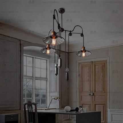Loft Restaurant American Industrial Style Trigeminal Lift Telescopic Stick Mirror Pendant Lamp Luminaria Pendente