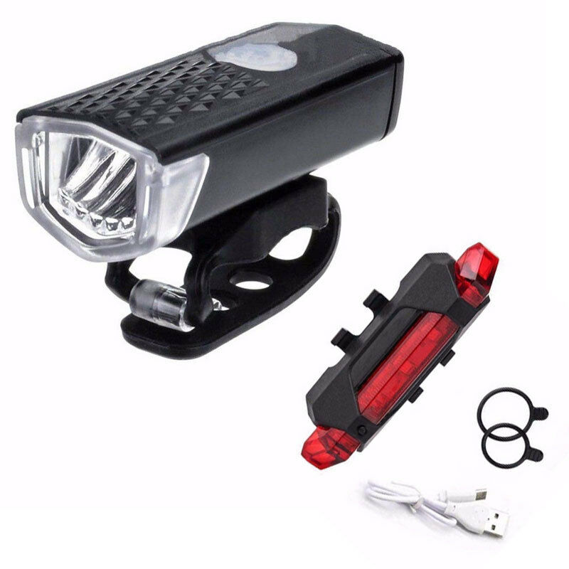 <font><b>Bike</b></font> Bicycle <font><b>Lights</b></font> <font><b>USB</b></font> LED Rechargeable <font><b>Set</b></font> Mountain Cycle Bright Front Headlight and Rear Tail <font><b>Light</b></font> Flashlight image