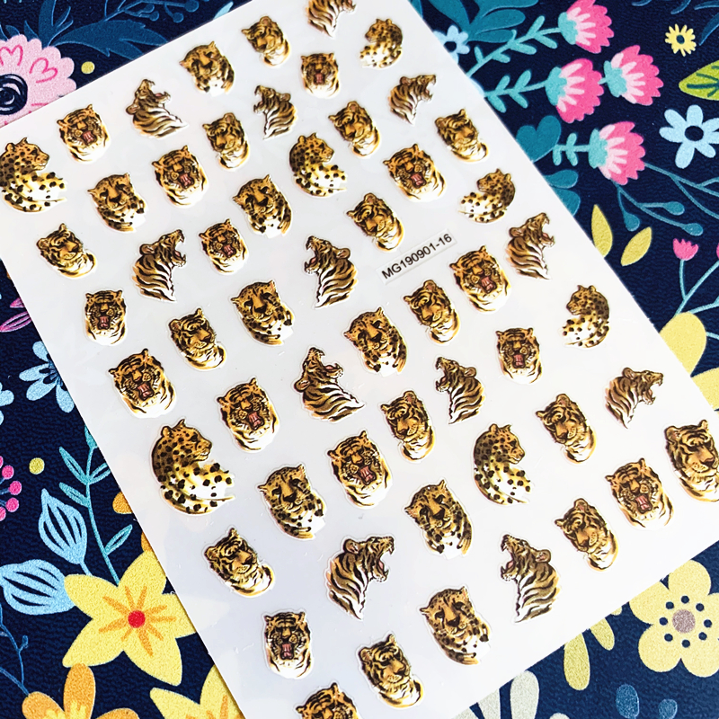 Newest Leopard tiger nail sticker 3d nail art sticker nail decal stamping export japan designs rhinestones