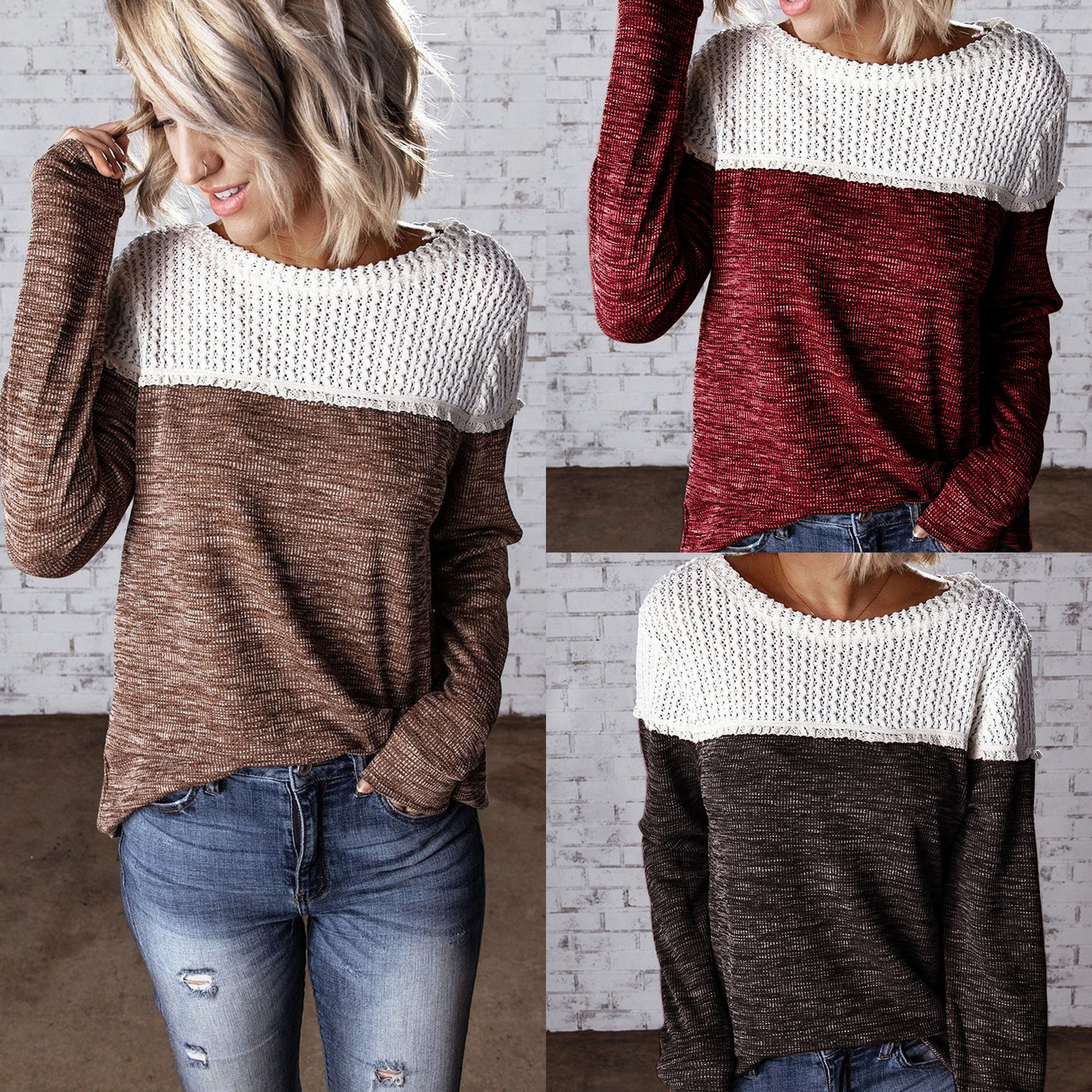 2019 Fall Clothing Casual Round Neck Brown White Patchwork Long Sleeve Women Pullovers Casual Women Sweatshirt
