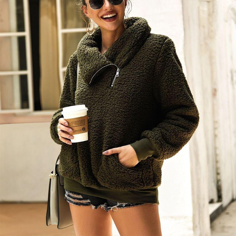Women Winter Autumn Zipper Fannel Neck Long Sleeve Sweatshirts Hoodies Pockets Fleece Sherpa Pullover Coat Outwear - 5