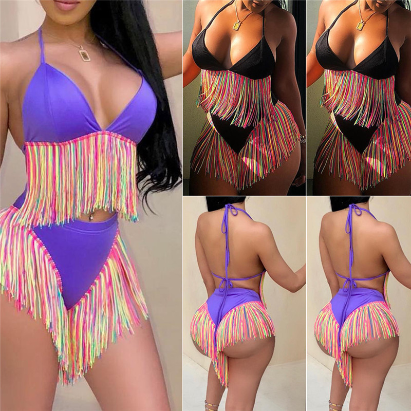 Bikinis Women Swimwear High Waist Swimsuit Spaghetti Strap Tassel Fringed Two-Piece Suits Retro Bathing Suit Plus Size Swimwear