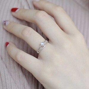 Image 5 - Bague en argent 100%, Bague de fiançailles pour femmes, Simple, à la mode, avec pierre précieuse naturelle, bijoux fins, idée cadeau