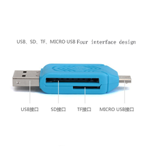 Micro USB type c & USB 2 in 1 OTG Card Reader Adapter USB2.0 Universal TF/SD For Computer Mobile Phone Extension Headers