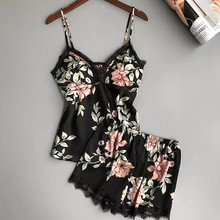 2pcs set Women Silk Satin Lace Crop Tops Shorts Female Floral Print Lace 2020 Su