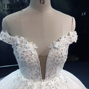 Image 3 - Luxury Sequins Lace Wedding Dresses 2020 3D Flower Ivory Shiny Beading Ball Gown Bridal Gowns Dress Dubai Vestidos De Novia