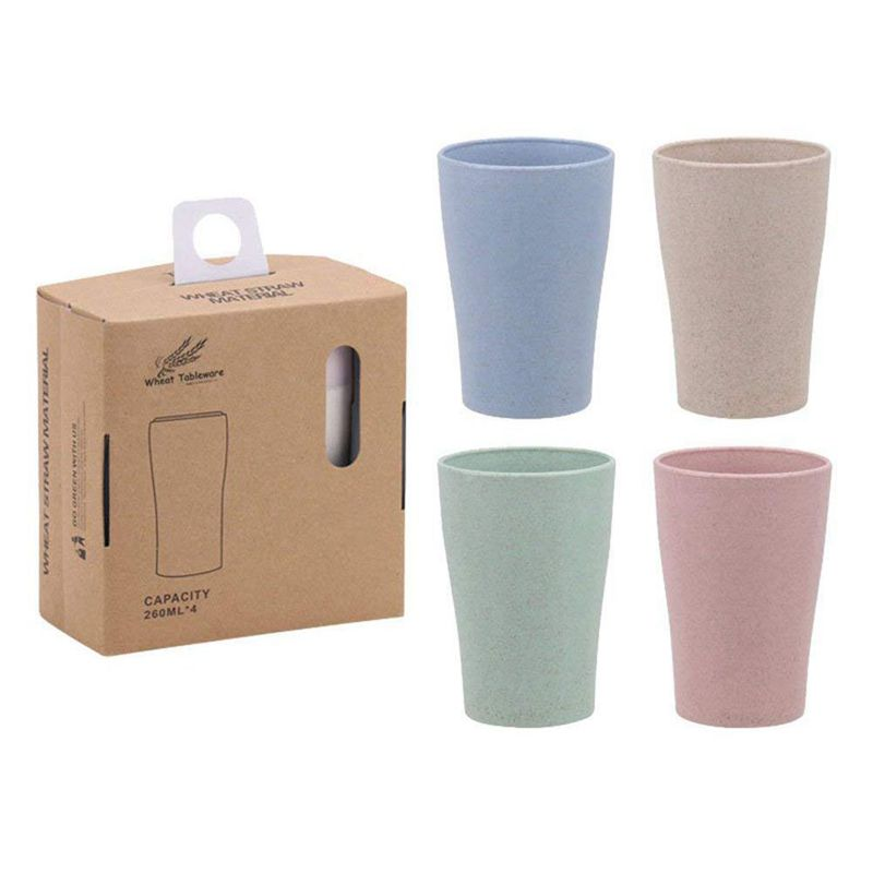 Eco Friendly Healthy Wheat Straw Biodegradable Mug  Cup for Water  Coffee  Milk  Juice  Tea (4pcs )|Water Bottle & Cup Accessories| |  - title=