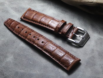 20 21 22 mm high quality Crocodile Leather Black Strap Fashion Pattern Hand-Stitched Luxury Quality Watch Band for IWC series