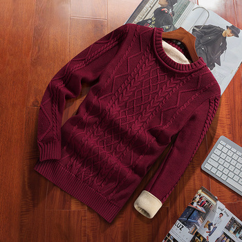 Winter Men Sweater Plus Velvet Keep Warm 2020 New Arrival Slim Thick Male Pullover Sweater
