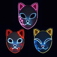 Anime Dämon Slayer Kimetsu Keine Yaiba LED Maske Cosplay Requisiten Sabito Kamado Tanjirou Makomo Halloween Party Licht Masken Für Erwachsene