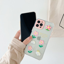 3D Oil Painting Flower Phone Case for iPhone 11 12pro 12mini Silicone Soft Shell for iPhone 8 XS 7/8Plus Phone Cover Anti-fall