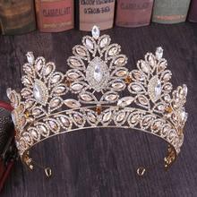 FORSEVEN Vintage barok büyük kristal çiçek taç zarif Tiaras gelin Noiva düğün pageant saç takı aksesuarları