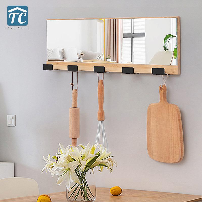 Wall-mounted Wooden Coat Hook With Mirror Hanger Bathroom Door Coat Hat Hat Bag Home Storage Decorative Solid Wood