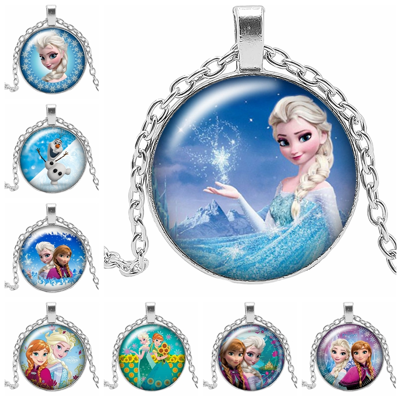 2019 New Brand New Elsa & Anna Snow Princess Pattern Pendant Necklace Girl Cute Pendant Necklace Glass Cabochon Gift Chain