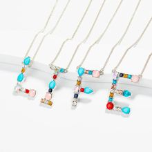 Zircon Alphabet A-Z Necklace Crystal Charm Letter Women Silver Chain Multicolor Pendant Name Initial Necklaces