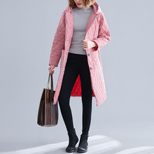 Winter Jacket Women Cotton Linen Long Coat Winter Plaid Thick Cotton Large Size Warm Parka Jackets Abrigos Mujer Invierno 2019