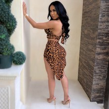 2019 Fashion Two Piece Set Summer Halter Crop Top High Waist Pencil Skirts Sexy Club Tracksuit sexy self tie halter open back crop top and elastic waist hotpants co ord page 1