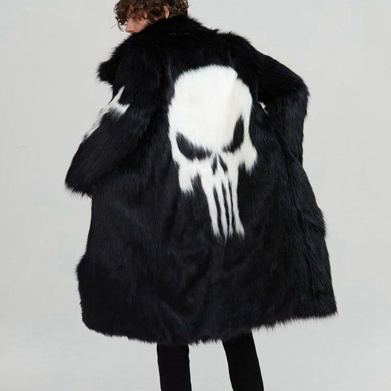 Модное мужское пальто в стиле панк с искусственным мехом, длинное теплое Мужское пальто с рисунком черепа, черно белое, размер S 3XL, Мужская о...