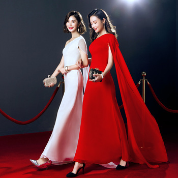 Red Solid Chinese Traditional Dress Long Qipao Bride Cheongsam Dress Vestidos Chinos Oriental Wedding Gowns Party Dresses