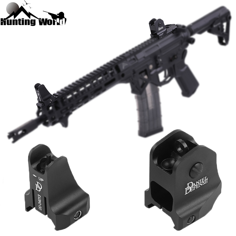 Tactical CNC DD Fixed Front Rear Iron Sight Combo Set Windage Adjustment Knob for Hunting Airsoft AR15 Apertures Iron Sights|Riflescopes| |  - title=
