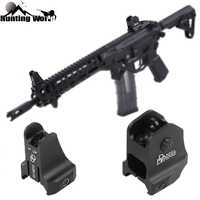 Tactical CNC DD Fixed Front Rear Iron Sight Combo Set Windage Adjustment Knob for Hunting Airsoft AR15 Apertures Iron Sights