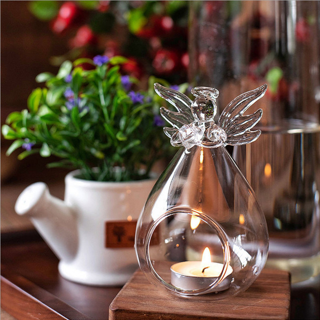 Cute Angel Glass Crystal Hanging Tea Light Candle Holder Home Decor Candlestick Home Room Family Decor Dropshipping 2