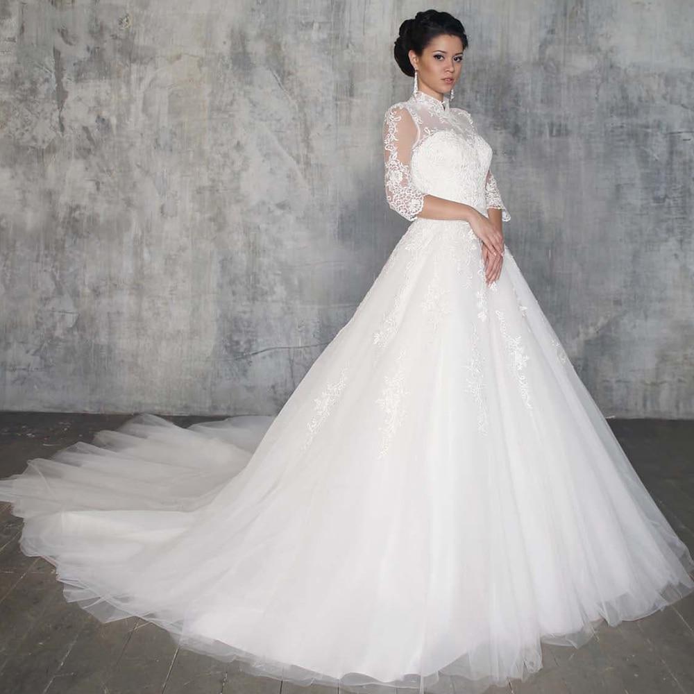 Vestidos de Boda de Princesa especiales para mujer, traje de corte en A, cuello alto, Media manga, apliques Blancos, novedad
