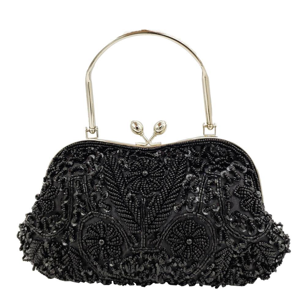 Boutique De FGG Elegant Frame Women Formal Beaded Evening Purses And Handbags Bridal Sequins Clutch Bag Cocktail Party Bag