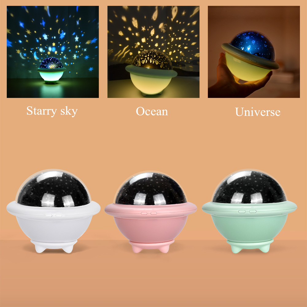 Starry Sky Ocean Universe UFO Projection Lamp Creative Romantic LED Night Light Bedroom Bedside Lamp for Children Kids Baby Gift