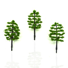 100pcs 70mm height model green trees scale miniature handcraft plants for diorama tiny forest architecture garden scene layout